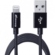 Кабель Grand-X USB-Lightning FL01NB MFI, 1,2m, серт доп. защита-оплетка