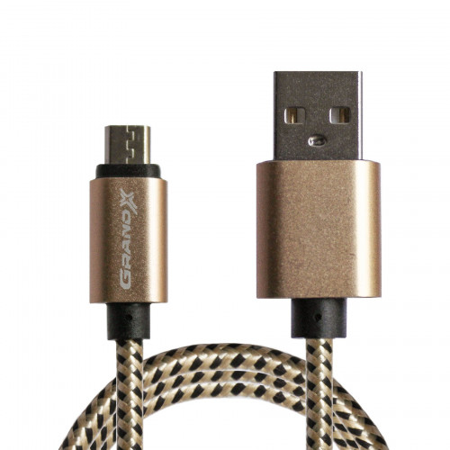 Кабель Grand-X крафтовый, ручная работа USB-microUSB FM-08BY 2,1A, 1m, Brown/Yellow, угл. microUSB