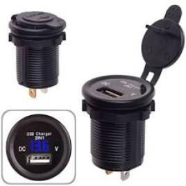 Автомобильное зарядное устройство 1 USB 12-24V врезное в планку + вольтметр