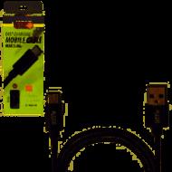 Кабель PULSO USB - Type C 3А, 2m, black быстрая зарядка/передача данных