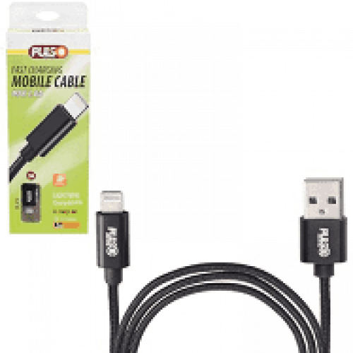 Кабель  PULSO USB - Lightning 3А, 2m, black (быстрая зарядка/передача данных)