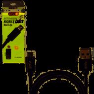 Кабель  PULSO USB - Micro USB 3А, 2m, black (быстрая зарядка/передача данных)