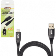 Кабель  PULSO USB - Lightning 3А, 1m, black (быстрая зарядка/передача данных)
