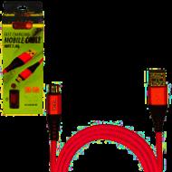 Кабель  PULSO USB - Micro USB 3А, 1m, red (быстрая зарядка/передача данных)