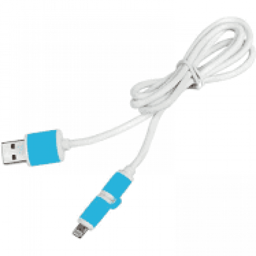 Кабель  PULSO USB - Micro USB/Apple  1m blue круглый