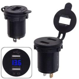 Автомобильное зарядное устройство 2 USB 12-24V врезное в планку + вольтметр