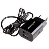 Зарядное устройство Grand-X CH-65B 5V 3,1A 2USB + micro USB Black с защитой от перегрузки